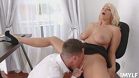 Milf London River spreads her legs and   commands her intern Jessy Jones to lick her   powerful pussy