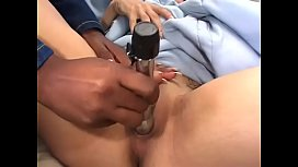 Horny lesbian babes fuck in the bedroom with various dildos