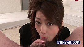 Asian girl sucking a tiny cock from knees