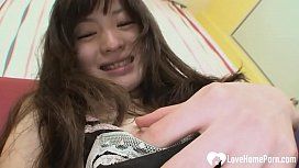 Tiny Japanese teen beauty is ready to ride hard cock