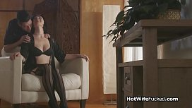 Hotwife throats cock in seductive lingerie