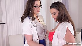 Busty lesbians Sapphire &amp_ Cherry Blush suck their tits at doctor'_s office