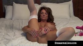 Busty Milf Deauxma Uses 4 inch Anal Plug &amp_ Dildo To Squirt!
