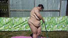 washing off the babyoil outside