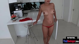 Real amateur Thai housewife POV style blowjob and fuck