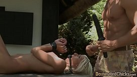 Bent over eurobabe hardfucked outdoors