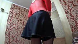 Pregnant mom in a short skirt in a playful mood and wants to fuck with her friend. Lesbians POV.
