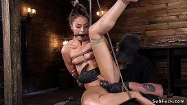 Beauty pussy banged on the floor bondage