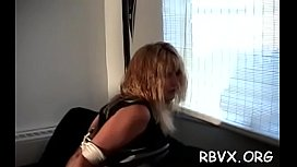 This slut can'_t move while her tormentor plays with her fur pie