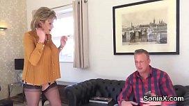 Unfaithful uk milf lady sonia showcases her large hooters