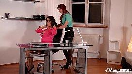 Busty lesbians Ava Koxxx &amp_ Isabella Lui stuff their assholes at the office