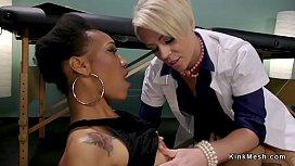 Blonde doctor anal fucks ebony in bondage
