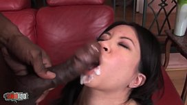 Petite asian banged by a big black dude