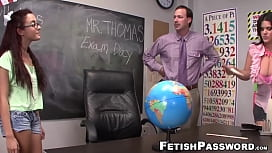 Nerdy Roxanne Rae sucking teacher dick and cumshot