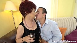 Nasty granny grinds on y. guys cock