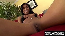 Ebony Teen Dolce Damone Bounces Her Yummy Black Booty on a White Cock