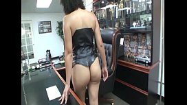 Lite skin ebony gets fucked in the office by her boss