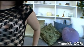Barely legal sweetheart is engulfing a hard shaft like a whore