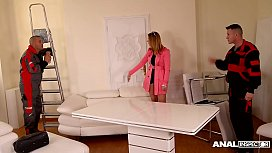 Anal inspectors lick &amp_ double penetrate Ani Blackfox on the office table