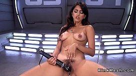 Hairy pussy Latina fucks machine