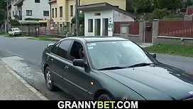 He picks up and doggy-fucks blonde granny