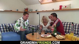 Boozed blonde grandmother takes two cocks