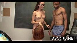 Hot brunette teen likes the taste of a huge throbbing shaft