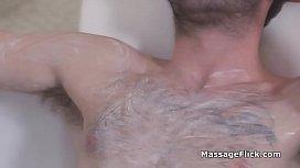 Busty Asian masseuse drilled hard in bathtub