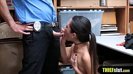 Skinny Korean shoplifter doggystyle fuck rough style