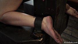 Slave in Vampire trap device bondage