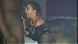 2 sexy BBC and A pretty petite slut fucking sucking and licking