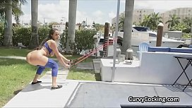 Drilling all natural oily big tit Sofi Ryan outdoors poolside
