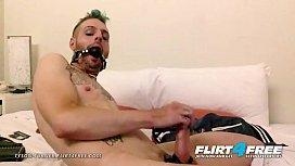 Tyson Turner - Flirt4free - Fetish Hunk w Ball Gag Strokes His Big Cock
