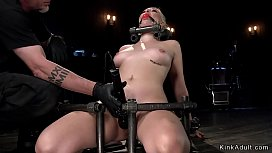 Locked in device blonde rode Sybian
