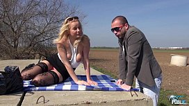 Blonde in stockings gets fucked outdoors