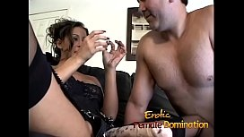 Beautiful brunette dominatrix makes her slave cum after some pegging