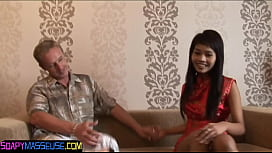 Young asian babe massages her client