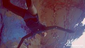 Hot hairy brunette teen in the pool naked