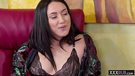 Hot brunette MILF massage sucks and rides clients cockS