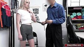 Blonde thief sucks cock to get free