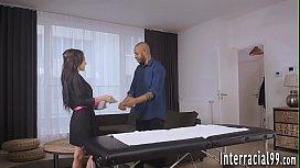 Babe fucks black masseur