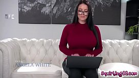 Kira Noir fucks Angela White from behind with a strapon!