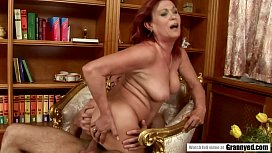 Rimjob and pussy fucking with an elder lady