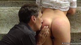 Hot ass petite slut banged in public