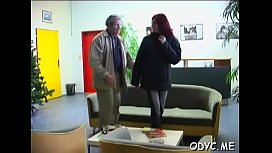 Busty youngster gets her slit annihilated by an old guy