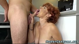 Old granny cum covered