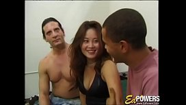 Sexy Asian babe has her first interracial threesome sex