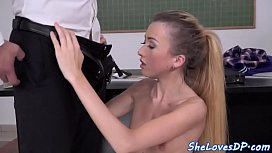 Anally spitroasted schoolgirl tastes hot cum