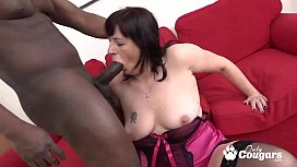 Slutty Granny Lets A Black Stud Cum Inside Her Asshole