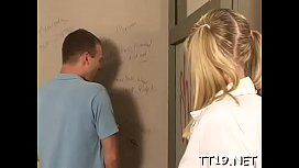 Horny teacher licks student'_s shaved pussy and fingers butt